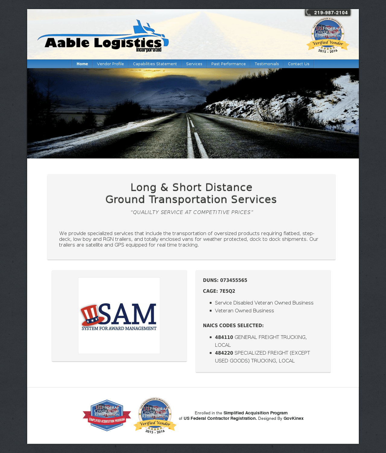 Screenshot of Aable Logistics Government Formatted Website