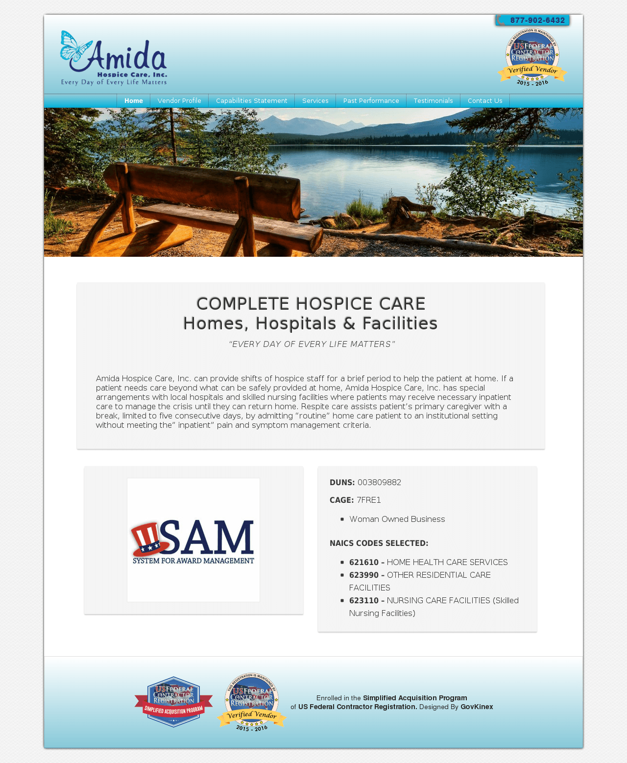 Screenshot of Amida Hospice Government Formatted Website