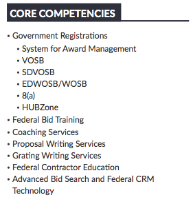 image of core competencies section of capabilities statement