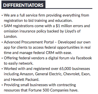 image of differentiators section of capabilities statement