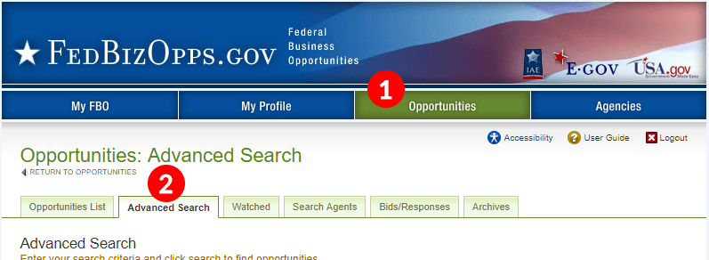 Image of the advanced search tab on FBO.gov