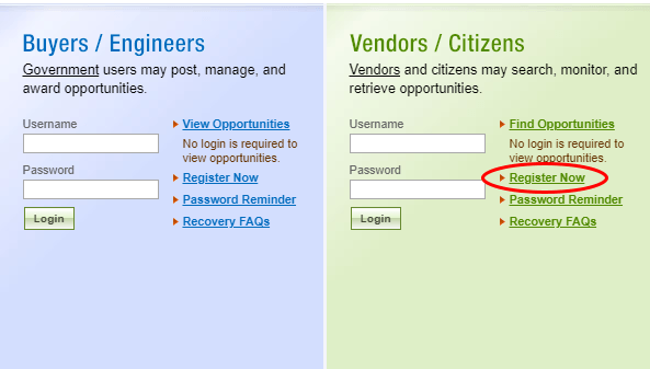 Screenshot of registration and login box for FBO.gov