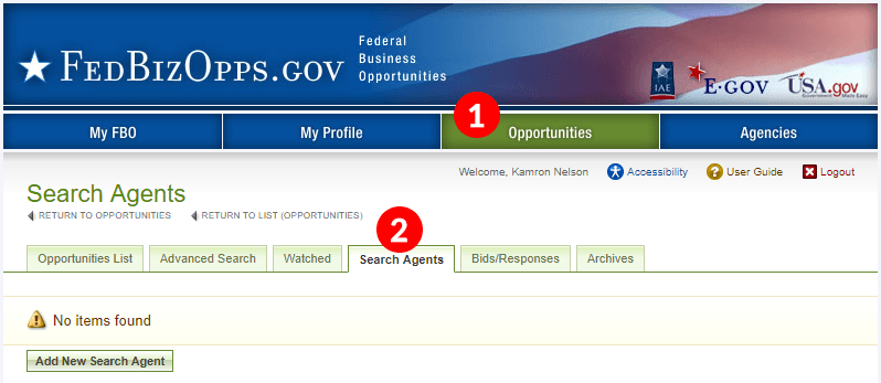 Screenshot of FedBizOpps Search Agent tab