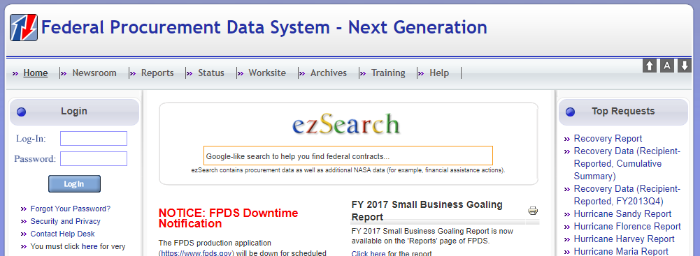 screenshot of fpds.gov home screen
