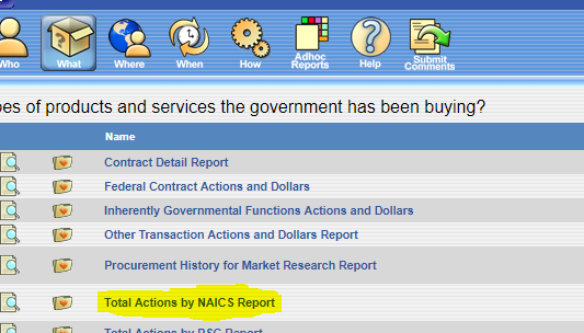 Image of the FPDS naics report